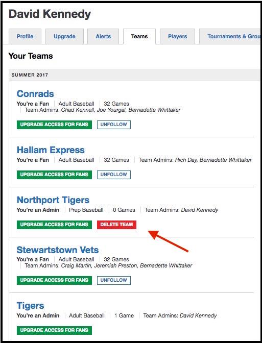 how to delete team app account